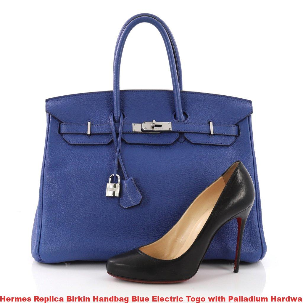 133a38d6cb85 Hermes Replica Birkin Handbag Blue Electric Togo with Palladium Hardware 35